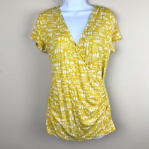 BODEN Yellow Faux Wrap Ruched Short Sleeve Top